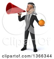 Clipart Of A 3d Arabian Business Man Holding A Navel Orange And Using A Megaphone On A White Background Royalty Free Illustration