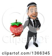 Clipart Of A 3d Arabian Business Man Holding Up A Strawberry On A White Background Royalty Free Illustration