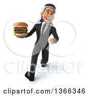 Clipart Of A 3d Arabian Business Man Holding A Double Cheeseburger And Speed Walking On A White Background Royalty Free Illustration
