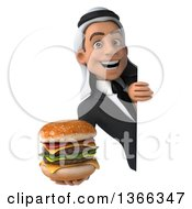 Clipart Of A 3d Arabian Business Man Holding A Double Cheeseburger Around A Sign On A White Background Royalty Free Illustration