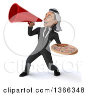 Clipart Of A 3d Arabian Business Man Holding A Pizza And Using A Megaphone On A White Background Royalty Free Illustration