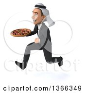 Clipart Of A 3d Arabian Business Man Holding A Pizza And Sprinting On A White Background Royalty Free Illustration