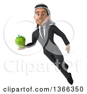 Clipart Of A 3d Arabian Business Man Holding A Green Bell Pepper And Flying On A White Background Royalty Free Illustration