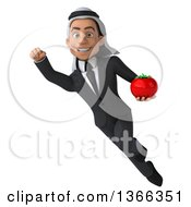 Clipart Of A 3d Arabian Business Man Holding A Tomato And Flying On A White Background Royalty Free Illustration