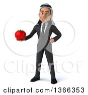 Clipart Of A 3d Arabian Business Man Holding A Tomato On A White Background Royalty Free Illustration