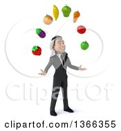 Clipart Of A 3d Arabian Business Man Juggling Fruit On A White Background Royalty Free Illustration