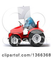 Clipart Of A 3d Bluebird Farmer Holding A Blank Sign And Operating A Red Tractor On A White Background Royalty Free Illustration