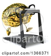 Clipart Of A 3d Bespectacled Gold Brain Character Running On A Treadmill On A White Background Royalty Free Illustration