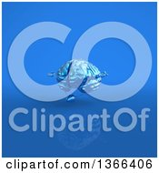 Clipart Of A 3d Blue Brain Character Meditating On Blue Royalty Free Illustration