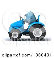 Clipart Of A 3d Bluebird Farmer Operating A Blue Tractor On A White Background Royalty Free Illustration