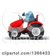 Poster, Art Print Of 3d Bluebird Farmer Giving A Thumb Up And Operating A Red Tractor On A White Background