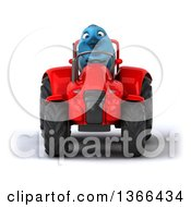 Poster, Art Print Of 3d Bluebird Farmer Operating A Red Tractor On A White Background