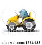 Poster, Art Print Of 3d Bluebird Farmer Operating A Yellow Tractor On A White Background