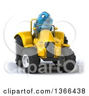 Clipart Of A 3d Bluebird Farmer Operating A Yellow Tractor On A White Background Royalty Free Illustration