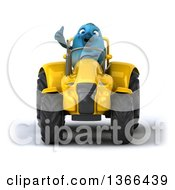 Poster, Art Print Of 3d Bluebird Farmer Giving A Thumb Up And Operating A Yellow Tractor On A White Background