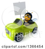 Clipart Of A 3d Bespectacled Female Bee Holding A Blank Sign And Driving A Green Convertible Car On A White Background Royalty Free Illustration