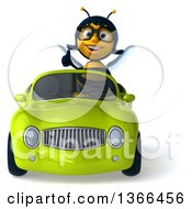 Clipart Of A 3d Bespectacled Female Bee Giving A Thumb Up And Driving A Green Convertible Car On A White Background Royalty Free Illustration