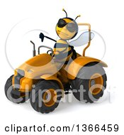 Poster, Art Print Of 3d Male Bee Wearing Sunglasses Giving A Thumb Down And Operating A Yellow Tractor On A White Background