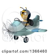 Clipart Of A 3d Bespectacled Male Bee Aviator Pilot Flying A Blue Airplane On A White Background Royalty Free Illustration