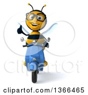 Clipart Of A 3d Bespectacled Male Bee Giving A Thumb Up On A Blue Scooter On A White Background Royalty Free Illustration