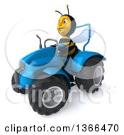 Poster, Art Print Of 3d Male Bee Operating A Blue Tractor On A White Background