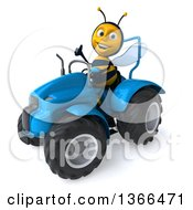 Poster, Art Print Of 3d Male Bee Giving A Thumb Up And Operating A Blue Tractor On A White Background