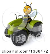 Poster, Art Print Of 3d Male Bee Operating A Green Tractor On A White Background