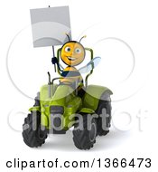 Clipart Of A 3d Male Bee Holding A Blank Sign And Operating A Green Tractor On A White Background Royalty Free Illustration