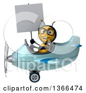 Clipart Of A 3d Bespectacled Male Bee Aviator Pilot Holding A Blank Sign And Flying A Blue Airplane On A White Background Royalty Free Illustration