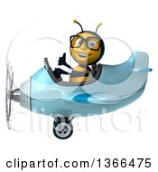 Clipart Of A 3d Bespectacled Male Bee Aviator Pilot Giving A Thumb Up And Flying A Blue Airplane On A White Background Royalty Free Illustration