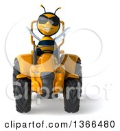Clipart Of A 3d Male Bee Wearing Sunglasses And Operating A Yellow Tractor On A White Background Royalty Free Illustration