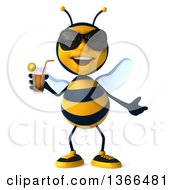 Poster, Art Print Of 3d Male Bee Wearing Sunglasses And Holding A Drink On A White Background