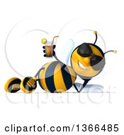 Poster, Art Print Of 3d Male Bee Wearing Sunglasses Resting On His Side And Holding A Drink On A White Background