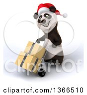 Clipart Of A 3d Christmas Panda Wearing A Santa Hat And Moving Packages On A Dolly On A White Background Royalty Free Illustration