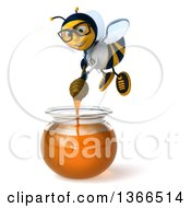 Clipart Of A 3d Bespectacled Happy Bee Doctor Flying With A Dipper Over A Honey Jar On A White Background Royalty Free Illustration