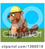 Clipart Of A Cartoon Construction Beaver Facing Left On A Blue And Green Background Royalty Free Illustration