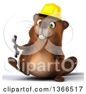 Clipart Of A 3d Construction Beaver Holding A Wrench And Walking On A White Background Royalty Free Illustration