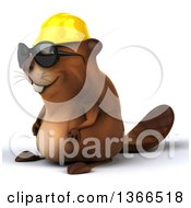 Clipart Of A 3d Construction Beaver Wearing Sunglasses On A White Background Royalty Free Illustration