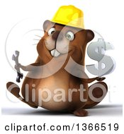 Clipart Of A 3d Construction Beaver Walking Holding A Wrench And Dollar Currency Symbol On A White Background Royalty Free Illustration
