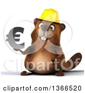 Clipart Of A 3d Construction Beaver Holding A Euro Currency Symbol On A White Background Royalty Free Illustration