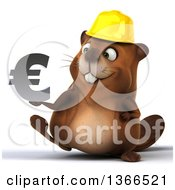 Clipart Of A 3d Construction Beaver Walking And Holding A Euro Currency Symbol On A White Background Royalty Free Illustration