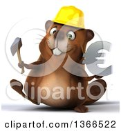 Clipart Of A 3d Construction Beaver Walking Holding An Axe And Euro Currency Symbol On A White Background Royalty Free Illustration
