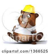 Clipart Of A 3d Construction Beaver Wearing A White T Shirt And Walking On A White Background Royalty Free Illustration