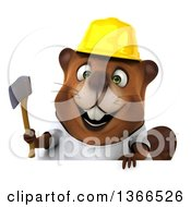 Clipart Of A 3d Construction Beaver Wearing A White T Shirt And Holding An Axe Over A Sign On A White Background Royalty Free Illustration