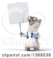 Clipart Of A 3d Bespectacled Polar Bear Doctor Or Veterinarian Holding And Pointing To A Blank Sign On A White Background Royalty Free Illustration