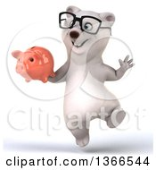 Clipart Of A 3d Bespectacled Polar Bear Holding A Piggy Bank And Jumping On A White Background Royalty Free Illustration