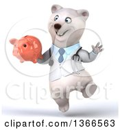 Clipart Of A 3d Polar Bear Doctor Or Veterinarian Holding A Piggy Bank And Jumping On A White Background Royalty Free Illustration