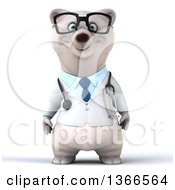 Clipart Of A 3d Bespectacled Polar Bear Doctor Or Veterinarian On A White Background Royalty Free Illustration
