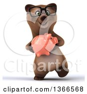 Clipart Of A 3d Bespectacled Brown Bear Walking And Holding A Piggy Bank On A White Background Royalty Free Illustration