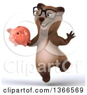 Clipart Of A 3d Bespectacled Brown Bear Jumping And Holding A Piggy Bank On A White Background Royalty Free Illustration